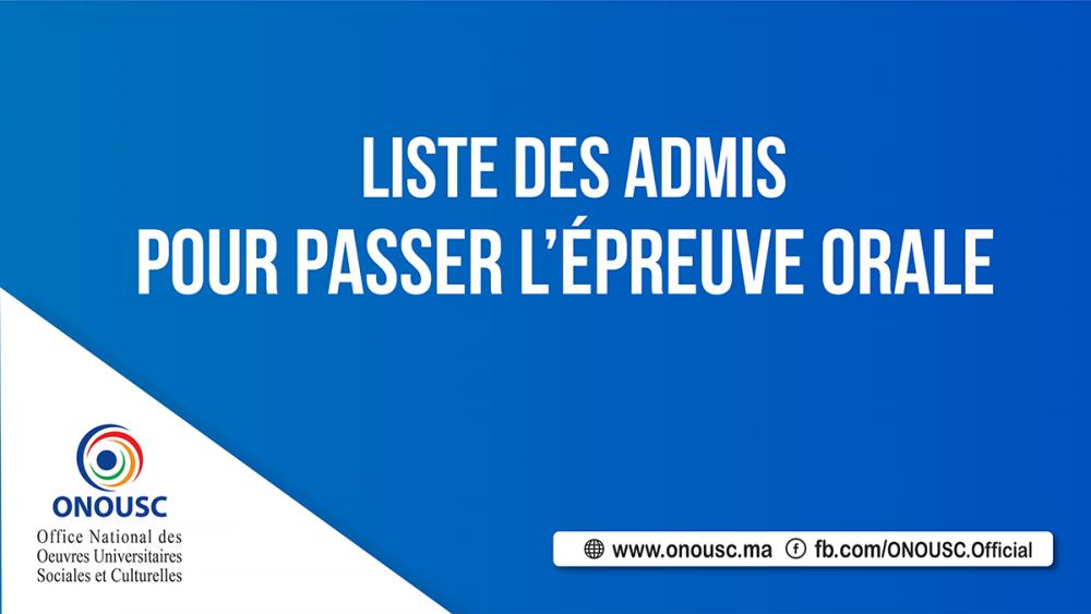 LISTE DES ADMIS POUR PASSER L'ÉPREUVE ORALE