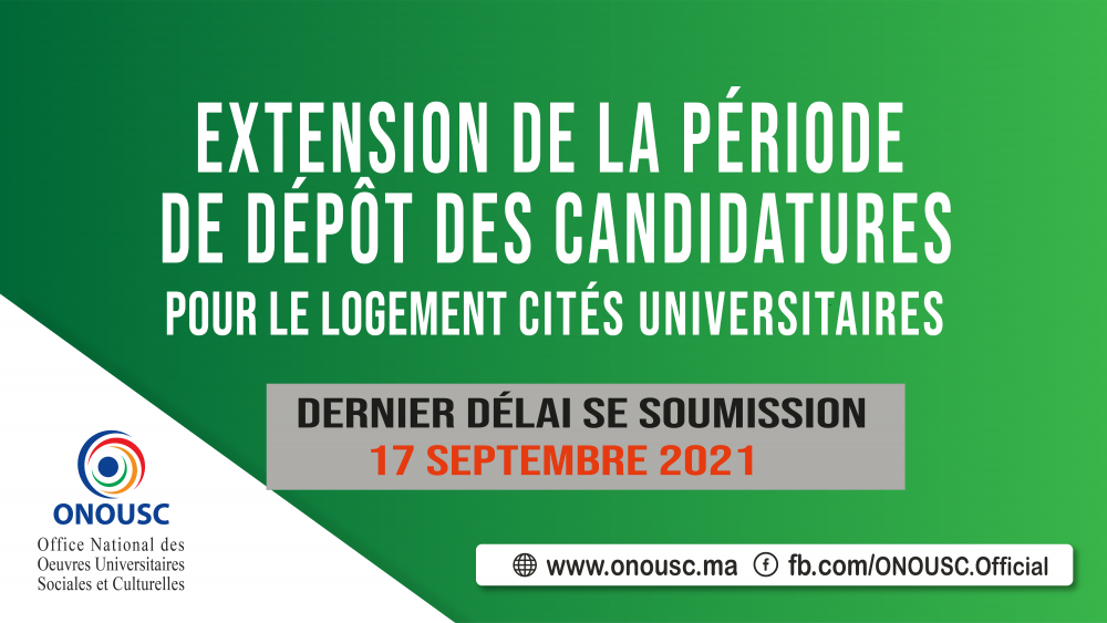 EXTENSION DE LA PÉRIODE DE DÉPÔT DES CANDIDIATURES DE LOGEMENT AUX CU (2020-2021)